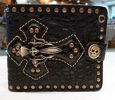 Mens Biker/Skull/Gothic/ black leather wallet-Cross Cool wallet. BLACK