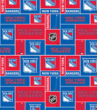 NHL HOCKEY NEW YORK RANGERS PW FLEECE FABRIC MATERIAL BY THE 1/2 YARD CRAFTS