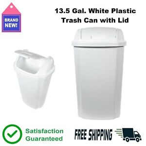 13.5 Gal. Trash Can Swing w/ Removable Lid Waste Basket Plastic Garbage Bin ♻👍