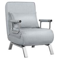 Folding 5 Position Convertible Sleeper Bed Armchair Lounge w/ Pillow Light Gray