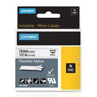 "Dymo 18488 IND Flexible Nylon Labels, 1/2"" White/Black"