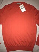 Zara AW17 Mens V-Neck Sweater Maglione Arancione Citrus RRP - £ 49 taglia. M Nuovo
