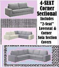 "IKEA Kivik""2 Seat""LoveSeat Corner Section Sofa COVER Isunda Gray""Sectional 4Seat"