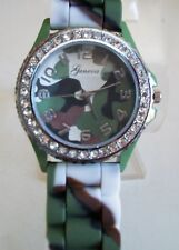 Fashion Jelly Silicone camouflage Bling Rhinestone Quartz Wrist Watch