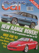 CAR 08/1990 featuring Jaguar E-type, VW Golf GTi, MGB, Rover Vitesse, BMW
