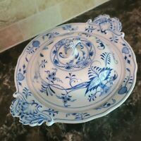 MEISSEN BLUE ONION Footed Covered Vegetable Bowl with Lid Marked