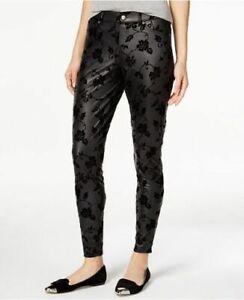 HUE Women's NEW Black Floral Flocked Leatherette Lightweight Leggings Size XS