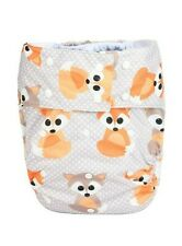 Teen Adult Cloth Diaper Reusable Incontinence Gray Baby Fox Hook Loop - S/M