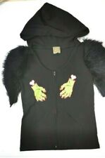 Too Fast Clothing Black Hooded Womens Top Size M Zombie Hands Fuzzy Sleeves