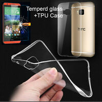 Tempered Glass Screen Protector+Clear Soft TPU Case For HTC Desire/One Phones