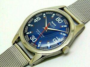 hmt pilot hand winding men's steel blue dial 17 jewel vintage genuine watch run