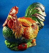"""FITZ & FLOYD """"Coq du Village"""" Rooster w/Veggies Figural Cookie Jar -  Estate ISW"""