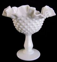 FENTON HOBNAIL WHITE MILK GLASS FOOTED CANDY DISH, BOWL- RUFFLE CRIMPED EDGES