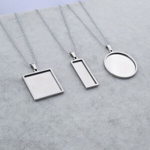 Stainless Steel Blank Cabochon Base Settings Pendant Necklace Bezel Tray Jewelry