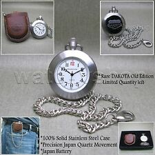 DAKOTA Rare STAINLESS STEEL Pocket Watch Leather Pouch Chain Gift Box P01A