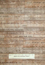 Tim Holtz Eclectic Elements Foundations Rulers Retro Theme Cotton Fabric YARD