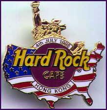 Hard Rock Cafe HONG KONG 1998 July 4th PIN USA Map w/Gold Statue of Liberty 3053