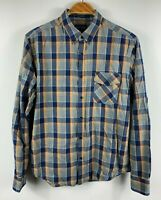 Lucky Brand Mens Button Up Shirt Size Medium California Fit Plaid Long Sleeve