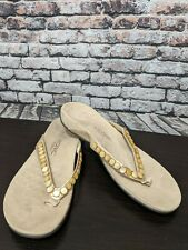 VIONIC WITH ORTHAHEEL SONALI CHAMPAGNE BEIGE THONG SANDALS SZ 11 42 NEW