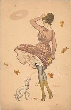 ARTIST SIGNED Postcard ART NOUVEAU c1910 Italian Woman Dog Italy 179