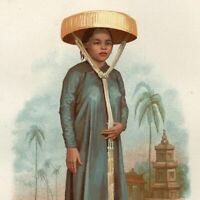 Young woman Cochinchina Asia Vietnam 1876 scarce lovely old ethnic costume print