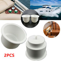 2PCS White Plastic Cup Holder Drink Can Bracket for Marine Boat RV Yacht Mounts