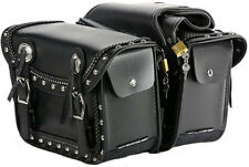 SMALLER QUICK RELEASE MOTORCYCLE PV LEATHER SADDLEBAGS w/STUDS & CONCHOS & BRAID