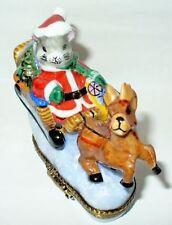 Limoges France Box ~ Christmas ~ Santa Mouse & Sleigh & Reindeer ~ Peint Main