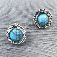 Fashionable Beautiful Semi Precious Turquoise Stone Rhinestone Stud Earrings