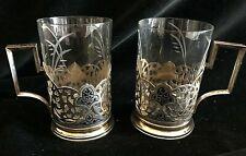 More details for russian / soviet silver gilt & niello tea glass holders (2) 875