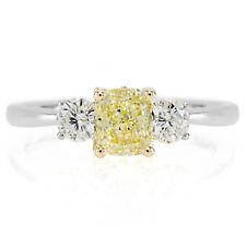 Fancy Yellow 3 Stone Cushion Cut GIA 2.10 Carat Diamond Engagement Ring in Plat