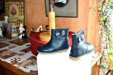 chaussure neuve cyrillus  24  bottine noeud liberty tout cuir bleu marine