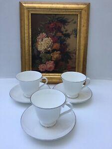 WEDGWOOD BONE CHINA SIGNET PLATINUM X 3  TEA CUPS &SAUCERS