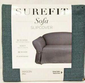 NEW Surefit Sofa Slipcover Relaxed Fit Side Ties 1Pc Cotton Sailcloth MASON BLUE