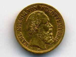 Germany/Wurttemberg:KM-624,10 Mark,1891 F * GOLD * Karl I * RARE Type *