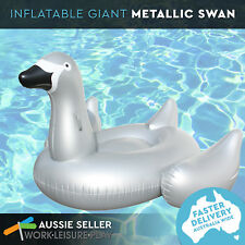 Airtime Inflatable Giant Swan Silver Super Fun Pool Toy