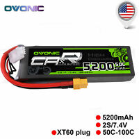 50C 5200mAh 7.4V 2S Lipo Battery with XT60 for RC Car Traxxas Slash E-maxx Losi