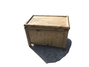 VINTAGE SPLIT BAMBOO OTTOMAN BLANKET BOX CHEST Small
