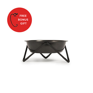 BENDO | New Meow Pet Cat Bowl Black Bowl on Black Stand - WITH FREE GIFT