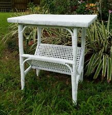 Vintage Asian Wicker Table Bookshelf Cottage Rattan Bookcase Accent Table