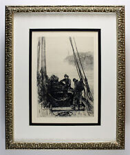 "Amazing 1800s COLIN HUNTER ORIGINAL Etching ""Shaking the Nets"" SIGNED Framed COA"