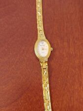Waltham Womens/Ladies Diamond Quartz Watch Gold Band White Dial YWL340