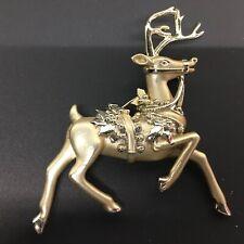 Golden Metal Brooch Jewelry Christmas Prancing Reindeer Pin