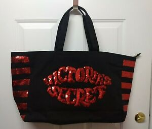 Victoria Secret Red Lips Black Red Sequin Bling Zip Tote Bag New without tags