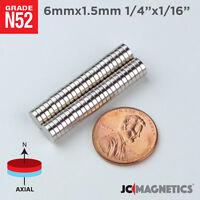 """25 100 1000pc 6mm x 1.5mm 1/4""""x1/16"""" N52 Strong Disc Rare Earth Neodymium Magnet"""