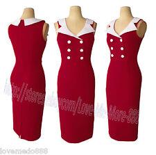 Womens Retro Vintage Sleeveless Tight Fit Celebrity Work Midi Dress Bodycon XL