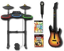 PS2 BAND HERO + World Tour Game Set w/Guitar/Drums/Mic 2 GAMES Bundle Kit two