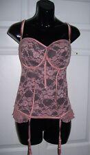 KARDASHIAN COLLECTION  Women's 39DD Bustier CORSET Black Mauve Pink Lace New