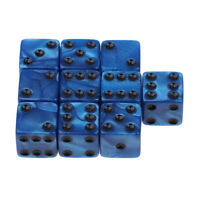 10Pcs Blue Six Sided D6 Dices Dotted Dies 16mm for Dungeons & Dragons Game