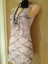 AX Paris Beige Fringed 1920's Flapper Gatsby Prom Cocktail Cruise Dress Size 8